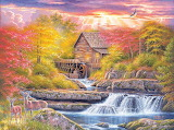 Mill-torrent-waterfalls-autumn-painting-art-by-Abraham-Hunter