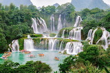 Waterfalls, pond, boats, mountains, forest, trees, nature, lands