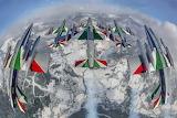 Italian tricolor arrows, planes, in flight, globe, earth, view