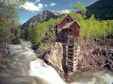 Old minning shack by river