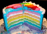 Birthday cake, rainbow style