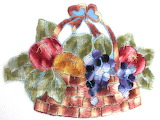 ^ Vintage applique fruit basket patch