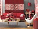 Red retro living room