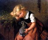 The Pet Rabbit ~ Felix Schlesinger (1833-1910)