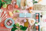 Macarons, tea, and flowers