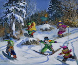 children skiing and snowboarding