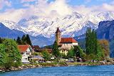 Brienz Village Near Lake and Swiss Mountains