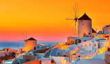 Sunset, evening, windmills, houses, sea, landscape, orange, ligh
