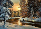 nature in the winter by sunrise