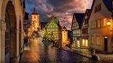 Cobblestone St After Rain Rothenburg Germany