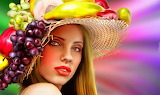 girl with fruit hat
