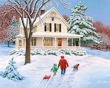 Cottage in winter with snow-painting-John Sloane