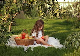 Basket, apples, harvest, girl, child, kid, park, trees