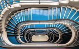 Downward view staircase business building Budapest Hungary