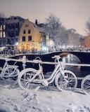 Amsterdam city in the winter
