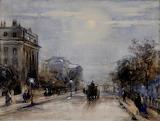 A Street Scene by Moonlight Circle of David Cox