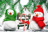 Christmas Two Snowmen Winter hat Scarf Bowknot 537301 1280x854