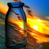 Sunset through a bottle