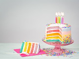 ^ Rainbow colors birthday cake, candles, flame