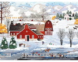 Farm in winter-painting