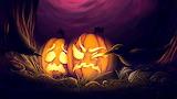 Halloween Pumpkins, Purple Background