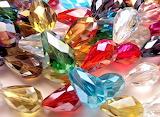 Rainbow of tear-drop glass beads