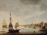 River Scene with Town and Shipping by Aelbert Cuyp
