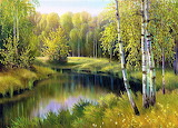 Forest on an oil painting