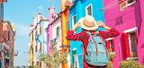 Tourist girl in Burano