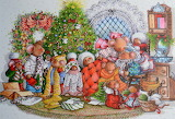 Mouse Family Christmas~ vintage card