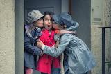 Girls, children, surprise, kiss, coat, hat