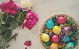 ^ Pink peonies, colorful eggs, Easter