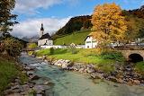 Bavarian church and countryside scene in Autumn