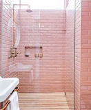Pink tile bathroom shower