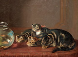 Cats by a fishbowl by Horatio Henry
