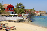 Town, houses, restaurant, sea, beach, boats, Senegal-Gettyimages
