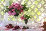 Raspberry, roses, bouquet, still life, peaches, currants, verand