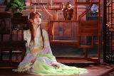 Girl, Asian, outfit, vase, bonsai, dress, chair
