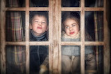 Fun, boy, window, girl, faces, children, kids