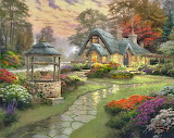 painting landscape on canvas house forest flowers