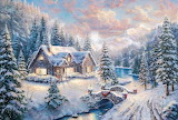 Cottage in winter with snow