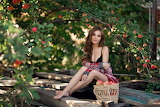 Girl, trees, apples, basket, harvest, beauty, nature