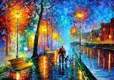 Walking dog rainy night