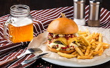 Burger, beer, French fries