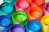 Paint jars of many colors