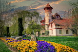 Beautiful castle with park and flower beds