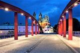 Night Jordan Bridge and Cathedral Poznan Poland