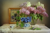 Flowers, branches, picture, Cup, vase, lilac