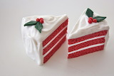 ^ Fake Red Velvet Triple Layer Cake Slices with White Fancy Fros