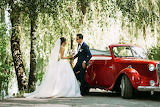 Vintage Red Convertible Wedding Car